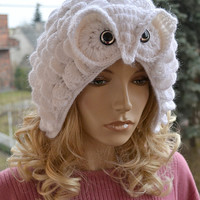 Crocheted white cap Snowy Owl ;o)