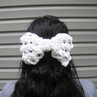Jumbo Crochet Bow Hair Clip Barrette in Pure White Cotton, Lacy Pattern, ready to ship.