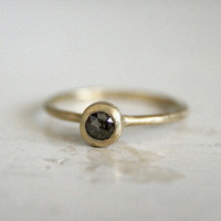 Rustic engagement rose cut diamond ring Dark galaxy by SundayOwl