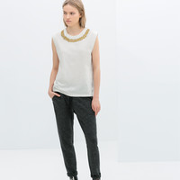 JEWELLED NECK T-SHIRT