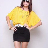Yellow Party Top - Vintage Shirt 80s Indie Hipster | UsTrendy