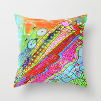HAPPY WHEELS Throw Pillow by Adka