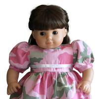 Pink Camo Doll Dress Green Army Girl Birthday Party Camouflage Summer Spring Bitty Twin Baby 14 to 16 inch Clothes --US Shipping Included