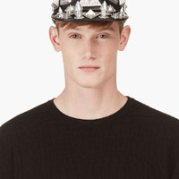 BLACK OVERSIZE STUD LEATHER PATROL CAP