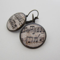 Music Earrings, Sheet Music Earrings, Music Jewelry, Sheet Music Jewelry, Leverback Earrings, Gifts | Luulla