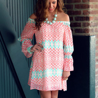 River Rouge Coral Open Shoulder Bell Sleeve Dress