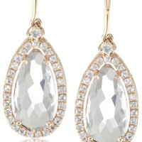 Kalan by Suzanne Kalan 14k Rose Gold, Rose de France, and White Sapphire Dangle Earrings