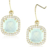 Kalan by Suzanne Kalan Chalcedony Cushion Cut Wire Drop Earrings