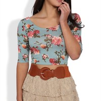 Triple Tiered Floral Lace Skirt with Belted Mini
