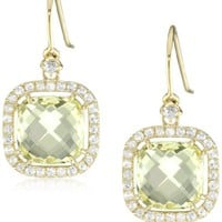Kalan by Suzanne Kalan Lemon Quartz Cushion Cut Wire Drop Earrings