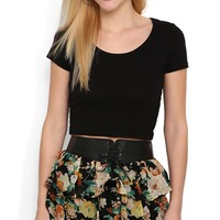 triple tiered floral chiffon tied belt mini skirt