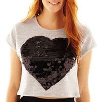 Olsenboye® Sequin Heart Cropped Top