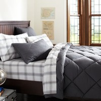 Solid Comforter + Sham, Dark Grey