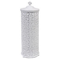 Lace Toilet Roll Cylinder, White