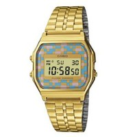 Casio Unisex Colorful Checkered Vintage A159WGEA-4AEF Digital Gold Watch