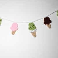 Ice Cream Garland, Crochet Bunting, Summer Party Decoration, Wall Hanging Handmade Home Decor, Kitchen Food Decor