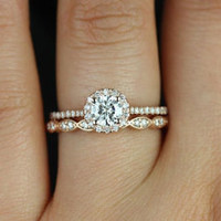 Ultra Petite Kubian & Christie 14kt Rose Gold FB Moissanite and Diamonds Halo Wedding Set (Other metals and stone options available)