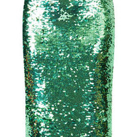 MINT SEQUIN PENCIL SKIRT
