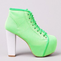 Jeffrey Campbell Lita Mesh Platform Booties in Neon Green White at AKIRA | Neon Litas | shopAKIRA.com