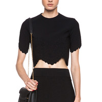 Embossed Knit Crop Top in Black