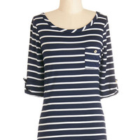 Stripe Zone Top in Navy | Mod Retro Vintage Short Sleeve Shirts | ModCloth.com