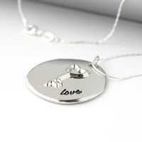 "Simple ""Love"" Word and Key Disc Pendant - Romantic Handmade Valentine's Day Jewelry - Minimalist Necklace - Ready to Ship"