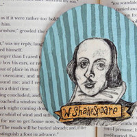 W. Shakespeare Badge // Hand-Painted Pinback Badge // Wearable Art