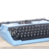 Vintage Blue Sears Celebrity 12 Typewriter // Manual Portable Working