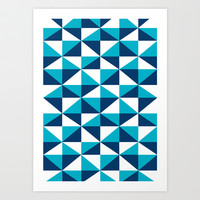 Geometric Pattern 4-Blue  Art Print by mollykd
