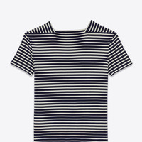 Saint Laurent Short Sleeve Marinière Shirt In Navy Blue And Ivory Striped Cotton Jersey | ysl.com