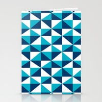 Geometric Pattern 4-Blue  Stationery Cards by mollykd