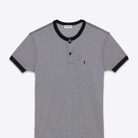 Saint Laurent Short Sleeve Band Collar Polo In Black And White Micro Striped Cotton | ysl.com