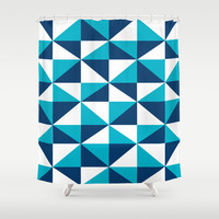 Geometric Pattern 4-Blue  Shower Curtain by mollykd