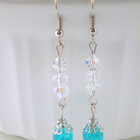 Turquoise & White Sparkle Earrings, Turquoise Earrings, Clear Earrings, Teal Earrings, Blue Earrings, Long Blue Earrings