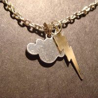 Silver Iightning Bolt and Cloud Necklace by CreepyCreationz