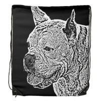 White Boxer dog drawstring backpack