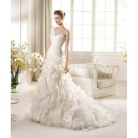 Charming Sweep Mermaid One Shoulder Organza Wedding Dress