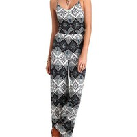 TRIBAL PRINT WIDE LEG JUMPSUIT