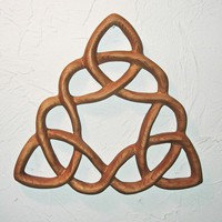 Cloverleaf Triquetra - Wood Carved Celtic Knot- Rest After Completion | signsofspirit - Woodworking on ArtFire