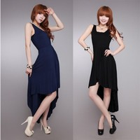 Formal Lady Sundress Irregular Hem Swallow Tail Vest Evening Dress Empire Waist