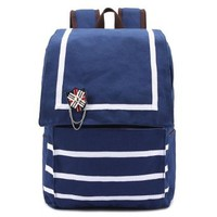 Nautical Style Badge Stripes School Shoulder Bag Backpack Rucksack