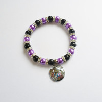 purple and black beaded bracelet with silver pig charm stretchy bracelet for women fashion bracelet beaded jewellery handmade jewellery gift