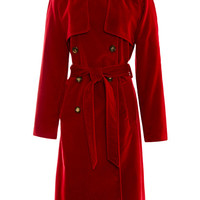 Red Velvet Trench Coat by Rosie Assoulin - Moda Operandi
