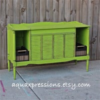 Lime Green Stereo console/ Distressed/ Vintage/ Bedroom Furniture/ TV Stand/ Storage/ Changing Table/ Toy Chest