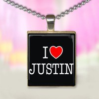 I heart Justin Scrabble Tile Pendant 3 by crystalcreationsbyj