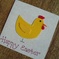 Happy Easter Chicken card - Square Easter card