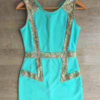 """Disco Nights"" Sequin Party Dress in Mint"