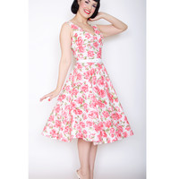 1950s Style Pink & White Rose Print Saturday Night Swing Dress