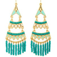 BEADED AZTEC CHANDELIER EARRINGS