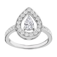 Engagement Ring - Open Halo Pear Shape Diamond Engagement Ring in 14K White Gold - ES1263